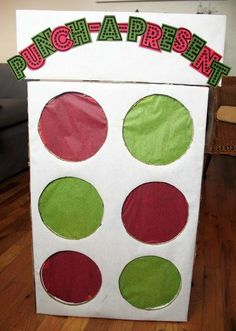 "would make a great advent calendar! Punch a Present - This is a really cute idea. I found the picture online but I imagine you would cut holes into a box and create some sort of shelf system inside the box using cardboard from this or another box. Then cover the holes from the inside with tissue paper, place the present directly behind the hold on it's ""shelf"" and there you go!    I'm an adult but even i would get a kick out of this."