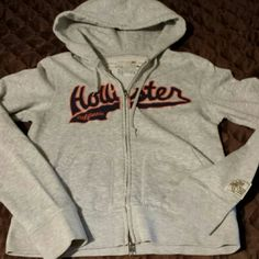 Hoodie Like new full zip junior's hoodie with embroidered logo. Grey sport Hollister Jackets & Coats