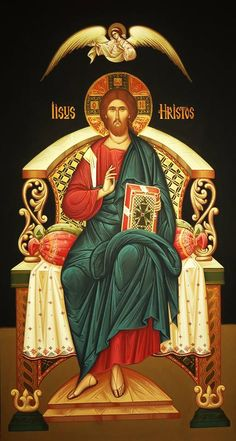 Christ Enthroned (on black), large icon Byzantine Icons, Byzantine Art, Religious Icons, Religious Art, Religion, Christ Pantocrator, Christ The King, Russian Icons, Jesus Pictures