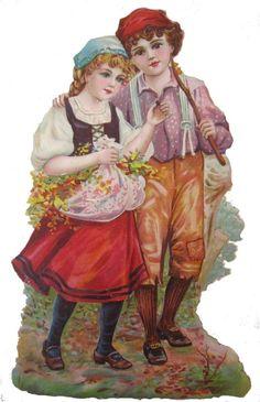 Glanzbilder - Victorian Die Cut - Victorian Scrap - Tube Victorienne - Glansbilleder - Plaatjes : Pärchen Kinder