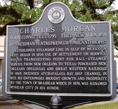 Morgan City, Louisiana - Historical Marker for Charles Morgan Morgan City Louisiana, Louisiana History, Gulf Of Mexico, Vintage Pictures, Historical Photos, Marker, New Orleans, Historical Pictures, Markers