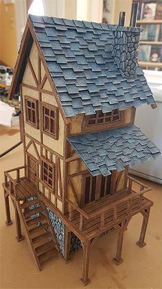 Dollhouse Miniature Tudor Medieval SETTLE BENCH w// Chest Linenfold /& Tudor Rose