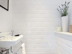 All About Brilliant & Cute Small Bathroom Remodel Ideas 59 - homedecorsdesign White Bathroom, Small Bathroom, Bathroom Ideas, Sink, New Homes, Bathtub, Cool Stuff, Subway Tiles, Design