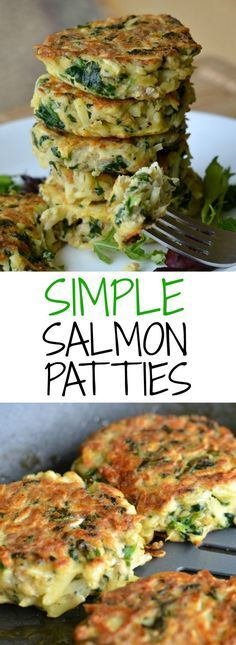 This simple recipe for salmon patties only requires four ingredients, and it's done in less than 30 minutes! An easy, nutritious, and delicious dinner that my whole family loves.