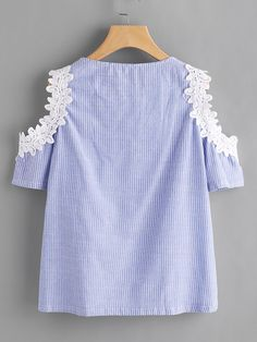 Shop Crochet Applique Trim Open Shoulder Lace Up Pinstriped Top online. SheIn offers Crochet Applique Trim Open Shoulder Lace Up Pinstriped Top & more to fit your fashionable needs. Stylish Dress Designs, Stylish Dresses, Fashion Dresses, Baby Frocks Designs, Kids Frocks Design, Frocks For Girls, Dresses Kids Girl, Frock Design, Ladies Dress Design