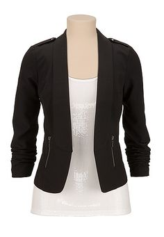 Open Front long sleeve blazer with studs (original price, $49) available at #Maurices