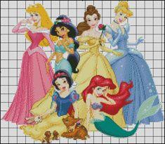 Esquemas de las Princesas Disney en Punto de Cruz (4)