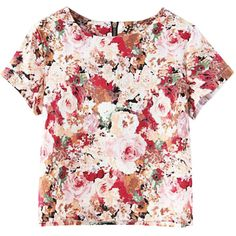 Flowers Print Zipped Cropped T-shirt (€20) ❤ liked on Polyvore featuring tops, t-shirts, shirts, zip t shirt, zipper t shirt, floral shirt, floral print shirt and floral t shirt