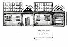 Paper house by Leila Montero Paper Doll House, Paper Houses, Cardboard Houses, Up House, Cozy House, Diy Paper Purses, Paper Art, Paper Crafts, Putz Houses