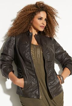 Ruched Pleather Jacket
