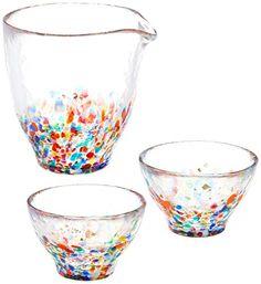 Tsugaru Vidro Sake Set Nebuta (Flask dia95-87 x H95mm, Cup dia74 x H47mm) - Beautiful colored Sake Set Glass Tsugaru Vidro - DOMO ARIGATO JAPAN