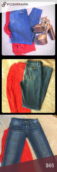 Joe's Skinny Ankle Jeans Jeans in timeless color, faded wash. Purchased with light distressing on ankles and whisker wash on front thighs. 98% Cotton, 2% Elastane. Very comfortable, stretch as you wear them. Worn twice, but were too big for me. Joe's Jeans Jeans Skinny