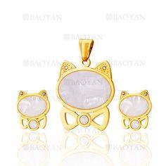 juego colgante y aretes de gatos especial en acero dorado inoxidable -SSSTG504651