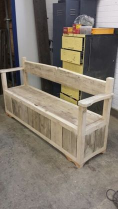 Bench with under seat storage made from recycled scaffold boards. Cafe Furniture, Diy Pallet Furniture, Diy Pallet Projects, Furniture Projects, Rustic Furniture, Woodworking Projects, Furniture Design, Wood Storage Box, Seat Storage