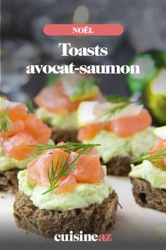 Avocado-salmon toasts The toasts garnished with avocado and salmon can . - Avocado-salmon toast Avocado and salmon toast can be added to the Christmas or New Years - Easy Smoothie Recipes, Easy Smoothies, Good Healthy Recipes, Quick Recipes, Salmon Toast, Salmon Avocado, New Year's Food, Coconut Recipes, Dessert