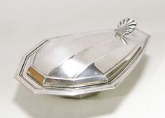 Art Deco Silver Plated Butter Dish with Glass by LittleFrenchOwl