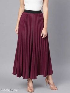 Skirts Fashionable Unique Women Western Skirts Fabric: Crepe Pattern: Solid Multipack: 1 Sizes:  34 (Waist Size: 34 in, Length Size: 39 in)  36 (Waist Size: 36 in, Length Size: 39 in)  26 (Waist Size: 26 in, Length Size: 39 in)  28 (Waist Size: 28 in, Length Size: 39 in)  30 (Waist Size: 30 in, Length Size: 39 in)  32 (Waist Size: 32 in, Length Size: 39 in)  Country of Origin: India Sizes Available: 26, 28, 30, 32, 34, 36   Catalog Rating: ★4.1 (429)  Catalog Name: Stylish Fashionista Women Western Skirts CatalogID_2903086 C79-SC1040 Code: 254-14630299-5511