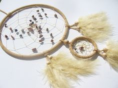 Handgefertigter Traumfänger - beige- mit Rhodonit von Traumnetz.com  - Kraft der Steine   Besondere Geschenke auf DaWanda.com