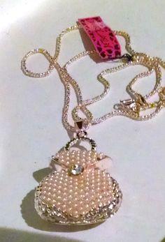 New Betsey Johnson Purse necklace pendant Ivory Gold pearls crystal J178 - http://wegotstyles.com/shop/girls/new-betsey-johnson-purse-necklace-pendant-ivory-gold-pearls-crystal-j178/