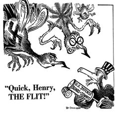 Seuss, also known as Theodore Geisel, worked as the the chief editorial cartoonist for the left-leaning New York magazine PM from 1940 to Dr Seuss Illustration, San Diego Library, Political Satire Cartoons, Poster Ads, Nose Art, Us History, World War Ii, Cartoon Art, Illustrations Posters