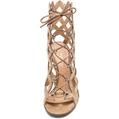 Gianvito Rossi Lace Up Cut Out Heels ($185) ❤ liked on Polyvore featuring shoes, sandals, heels, suede lace up shoes, suede lace up sandals, lace-up heel sandals, heeled sandals and lace up sandals