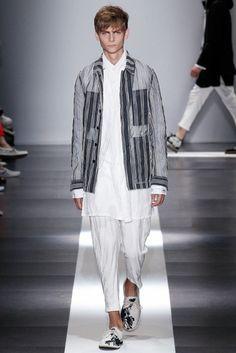 Striped organza blazer form Ann Demeulemeester | Spring 2015 Menswear Collection | Style.com