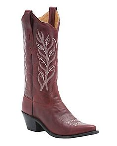 Old West Ladies Classic Red with Embroidered Snip Toe Western Boot
