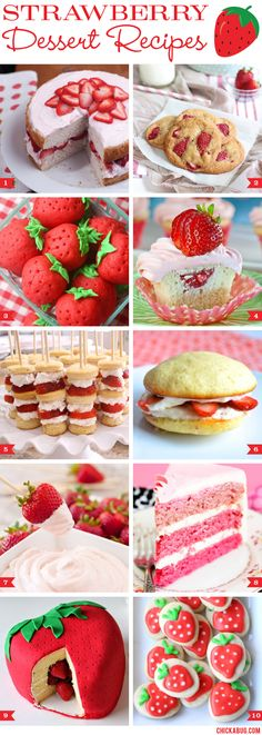 An awesome roundup of strawberry dessert recipes by @Chickabug