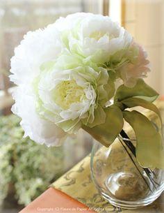 $Fleurs de Papier ~クラフトパンチや花紙で作る立体のお花いろいろ~-お花紙でバラとカーネーションと芍薬のブーケ