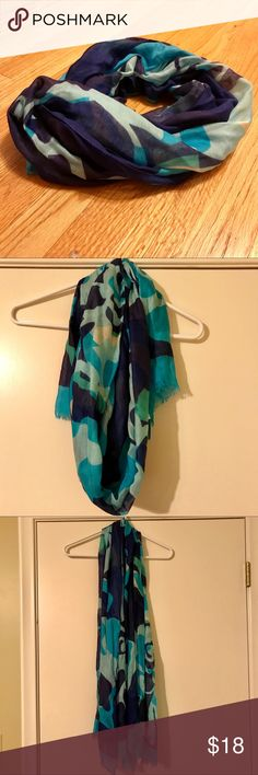 """Vera Bradley Soft Rayon Scarf Like new lightweight soft rayon Scarf in stunning colors to add a pop to any outfit! Navy blue, teal, light blue, with hints of white and apple green. EUC. Length is 70"""", width is 25"""".  Fast same or next business day shipping! Nonsmoking home. Vera Bradley Accessories Scarves & Wraps"""