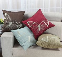 18 x 18 lively butterfly embroidery cushion covers pillows shell home decor euphoria - Home Decor Cushions