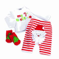 "My 1st Christmas 3PC OutfitOh how cute!   Baby's first Christmas outfit featuring 3 pieces in all.    ""My 1st Christmas"" embroidered long-sleeve cotton top, candy cane striped pants with Santa on the bum and complete with cute Christmas socks with red bow accents.Manufacturer: Mudpie  Size: 0-6M  $31.50"