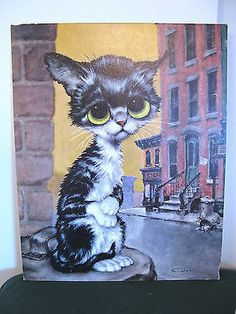 Large 60s Vintage Gig Sad Big Eye Cat Pity Kitty Lithograph Art Print P630 16x20 | eBay