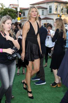Maria Sharapova Lookbook: Maria Sharapova wearing David Koma Little Black Dress (5 of 8). Maria Sharapova went bold in a deep-V, ruffle-hem LBD by David Koma at the LA premiere of 'Battle of the Sexes.'
