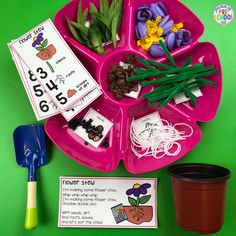 Parts of a flower counting game! Learn about the parts of a flower and practice one to one correspondence at the same time. Designed for preschool, pre-k, and kindergarten kiddos.
