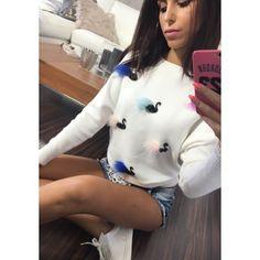 Sexy dámský pletený svetřík v bílé barvě - manozo.cz Blouse, Long Sleeve, Sexy, Sleeves, Tops, Women, Fashion, Moda, Long Dress Patterns
