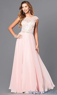 Jeweled Lace-Bodice Long Prom Dress with V-Back. Banquet DressesPastel ... 6a6943b97607