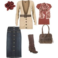 Love the colors, scarf, shirt and scarf with a long denim skirt...so cute!