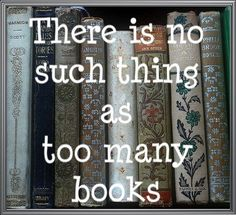 I say this every time my husband tells me I have too many books...