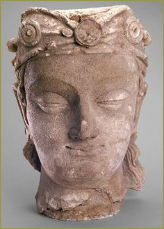 Bodhisattva  Afghanistan (ancient Gandhara), ca. 4th century,  stucco with traces of paint.