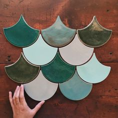 Mercury Mosaics | Inspired by rainy tones and dreamy blues and greens: we love this new combo! Moroccan Fish Scales - 133E Sea Green, 28 Everglades, 1043 Driftwood, 32 Canton Jade, 1017W Sea Mist. Samples available online! Get a free quote!