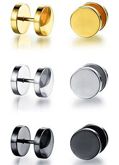 22a13f012 Ostan Men's Stainless Steel Stud Earrings Hoop Set Pack Bundle. The value  of goods is