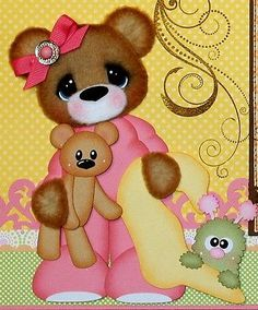 ELITE4U PMBY JULIE girl tear bear premade Scrapbook Pages 4 Album paper piecing
