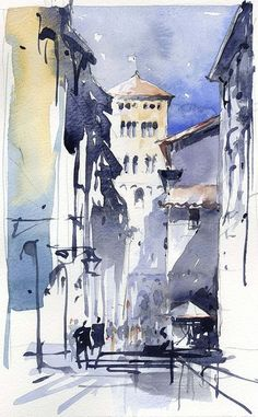 Lucca Italy Painting by Tony Belobrajdic Watercolor City, Watercolor Sketch, Watercolor Landscape, Watercolor Paintings, Watercolours, Landscape Paintings, City Painting, Sketch Painting, Watercolor Architecture