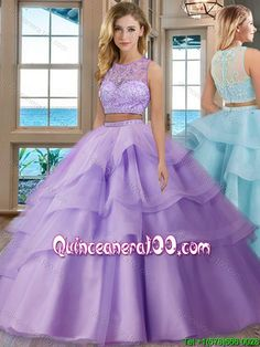 f415f2849da See Through Scoop Brush Train Tulle Aqua Blue Two Piece Quinceanera Dresses  with Beading and Appliques