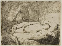 Rembrandt Harmenszoon van Rijn, Jupiter and Antiope: Smaller Plate, ca. Etching and engraving on paper. Rembrandt Etchings, Rembrandt Drawings, Rembrandt Art, Leiden, Dutch Golden Age, Dutch Painters, Art Institute Of Chicago, Gravure, British Museum