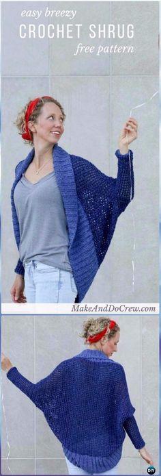 Crochet facile léger Crochet modèle gratuit - Crochet femmes modèle gratuit de cardigan Shrug