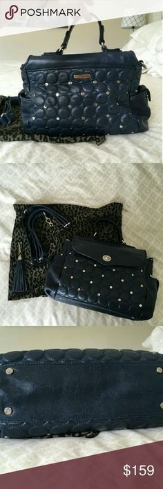Gorgeous Navy Studded Satchel Authentic Rebecca Mink off navy & silver Studded front flap satchel with removal long strap and dustbag Rebecca Minkoff Bags