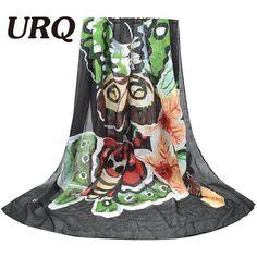 [URQ] 2016 Design Butterfly Scarf Woman Long Twill Cotton Big Scarves Shawl Wraps X9A18436