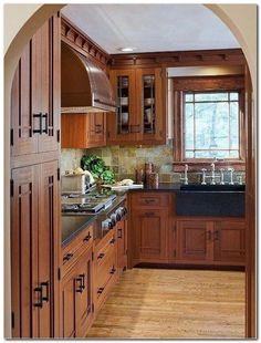 Rustic Kitchen Cabinets, Rustic Kitchen Decor, Kitchen Redo, Kitchen Furniture, Kitchen Ideas, Kitchen Counters, Soapstone Kitchen, Dark Cabinets, Wood Countertops